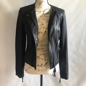 Free People Faux Leather Jacket w/floral Lace Back